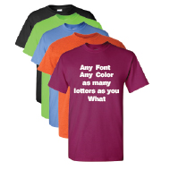 Color t-shirt with custom lettering