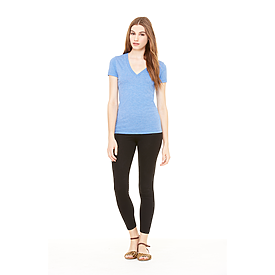 B8435 LADIES TRIBLEND S/S DEEP V-NECK TEE