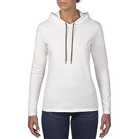 887L LIGHTWEIGHT L/S HOODED TEE FOR LADIES