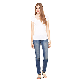 B8703 LADIES SHEER MINI RIB S/S SCOOP NECK TEE