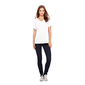 B6405 LADIES RELAXED JERSEY S/S V-NECK TEE