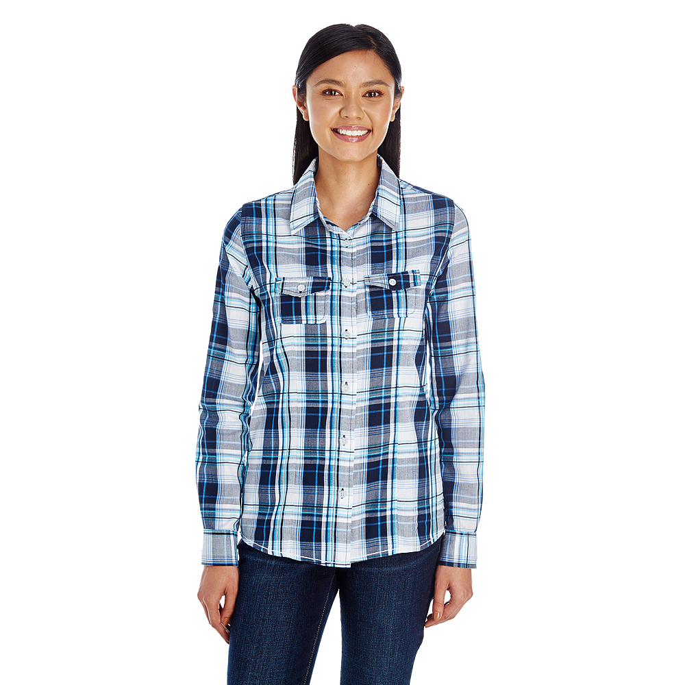 BR5222 LADIES LONG SLEEVE PLAID